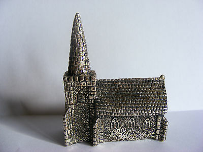 "Miniature Antique Silver Plated Model (Church) Stamped ""RH"". c 1920"