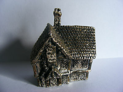 "Miniature Antique Silver Plated Model (Rose & Crown Pub)) Stamped ""RH"". c 1920"