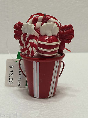 Red & White Peppermint Bucket Christmas Ornament  NEW