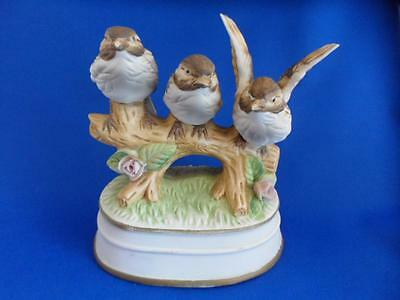"Three Birds Sparrows on a Branch ROYAL CROWN (Arnart) Bisque Figurine 6"" Tall"