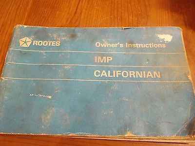 Rootes Hillman Imp Californian Owners Manual Original 1969