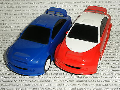 Scalextric - Pair of Rally Cars (Plain Blue & Red) - Nr. Mint