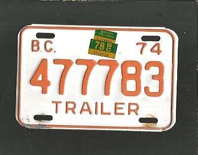 "LICENSE PLATE, VINTAGE: 1974 BC (CANADA) TRAILER #477783, METAL, 5""X8"" Org/White"