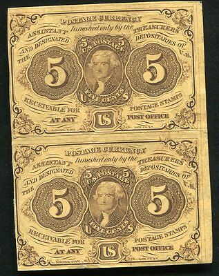 (2) Uncut Pair Of 5 Five Cents First Issue Fractional Currency Notes