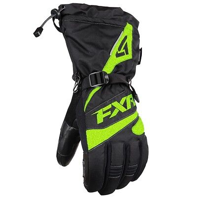 FXR Men's Fuel Gloves With Leather Palm & Thumb Black Electric Lime 15606.711__