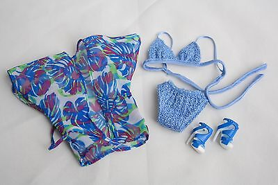 Barbie Fashion - Model Muse Blue Bikini Swim Suit, Cover Up & Shoes * VGC