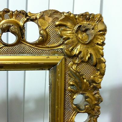 Antique Picture Frame Ornate Carved Gold Wood 15 x 20 OPEN Baroque