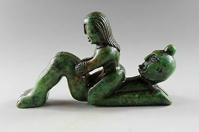 Antique Chinese hand carved Old Green Jade Statue A5094