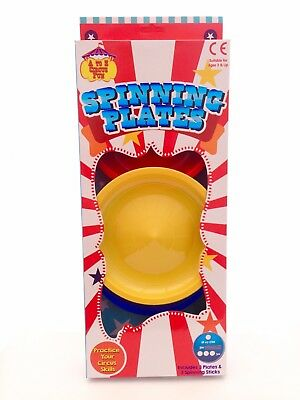3 Piece Spinning Plates Set Girls Boys Childrens Circus Juggling Skills Game Toy