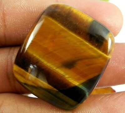 34.80 Ct Tiger's Eye Cushion Cut Cab Very Fine Golden Color Genuine Unheated