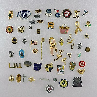 Various Mixed Lot of Gold-Toned and Enamel Lapel Pins and Trinkets - 65 Total