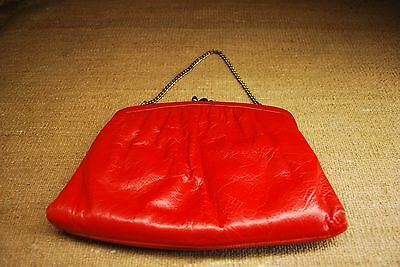 Vintage Red Leather Kisslock Clutch Gold Chain Ande Evening Bag Purse 50s 60s