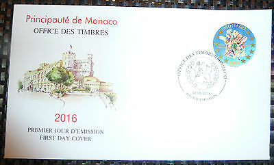 Postage Stamp  :  FOOTBALL  /  EURO 2016 FRANCE / FDC / NEW / MONACO 1 Stamp