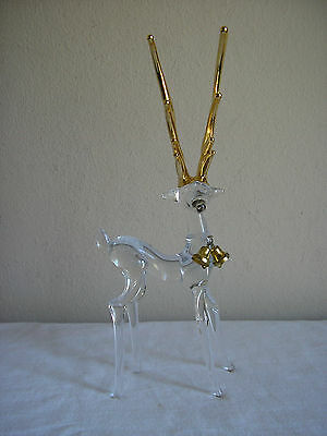 "Vintage Clear Glass Deer With Gold Antlers Figurine Christmas 9 3/4"" Tall"