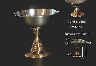 Copper dessert bowl with stainless steel bowl and copper base