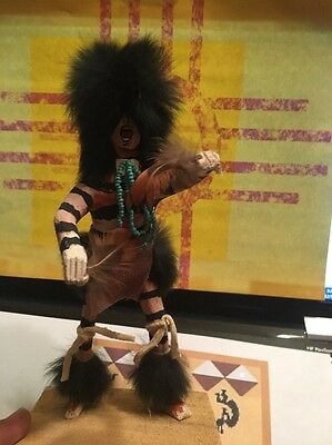 Kachina Doll CROWN DANCER HANDMADE NATIVE AMERICAN  artist Signed