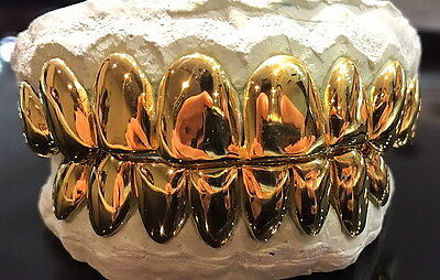 Sterling Silver W/ 18K Yellow Gold Plated Perm Cut Custom Fit Real Grillz