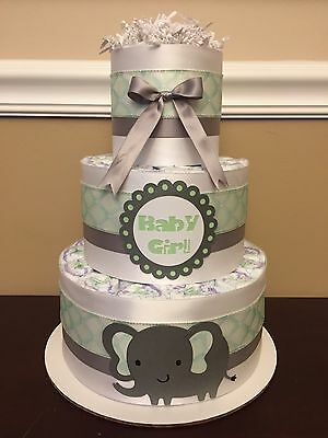 Diaper Cake Elephant Mint Green Gray White Girls 3 Tier Baby Shower Centerpiece