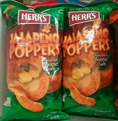 2 x HERR'S  Jalapeno Poppers flavoured Cheese Curls 198.5g each bag