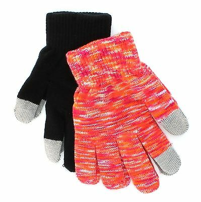 SO Black Orange Touchscreen Texting Gloves for Girls - 2 Pack - One Size