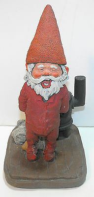 """Vintage RIEN POORTVLIET GNOME """"SNORRI"""" BY HIS POT BELLY STOVE SIGNED #102 Artina"""