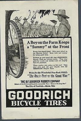 GOODRICH Bicycle Tires AD Great War A Boy on the Farm Keeps a Sammy at The Front