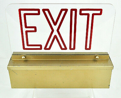 Vintage Light Up Acrylic Exit Sign - Needs re-wired