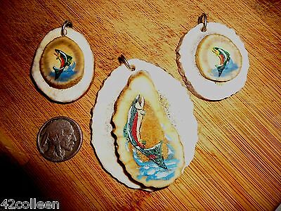 Nice Lot of Elk Antler, Antlers Pendants,Hand Painted Fish,Trout Native made