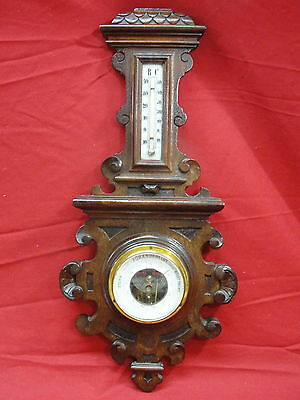 Old Danish Barometer In Hand Carved Wood Weather Station Black Forest Style