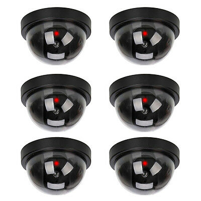 6 X Dummy Dome Security Camera CCTV False IR LED With Flashing Red LED Light