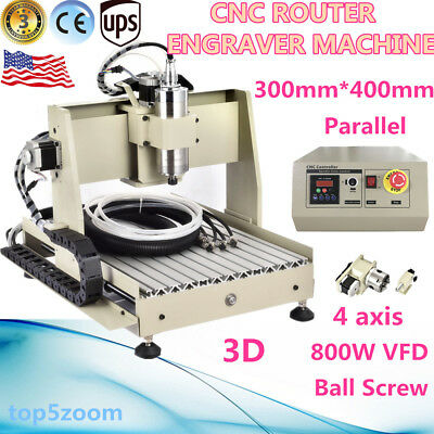 4 Axis 3040 CNC Router Engraver Engraving Machine High-pricision Ball Screw+VFD