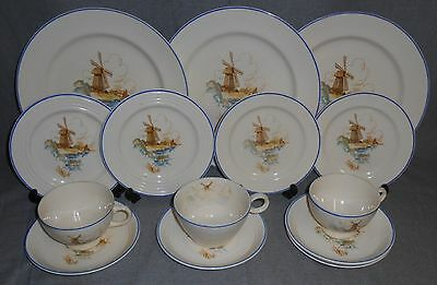 13 pc Set Universal Cambridge WINDMILL PATTERN Plates/Cups/Saucers MADE IN OHIO