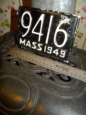 1949 MASS MOTORCYCLE Plate   Old Vintage & ORIGINAL MC TAG.  # 9416   NO Reserve