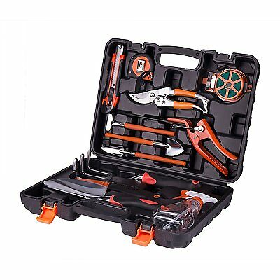 12 PCS Durable Garden tools Gift Set Stable Molded Carrying Case Medium Gloves