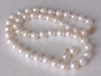 """17.5"""" 9.5Mm Genuine Round White Pearl Necklace  & Stud Earrings 14K Yellow Gold"""