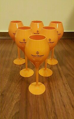 Veuve Clicquot Champagne Orange Acrylic Goblets x 6 NEW!!