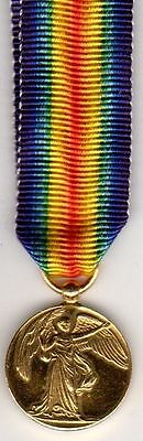 Original MINIATURE WWI Great Britain Victory Medal Badge for Service on Ribbon