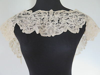 Vtg Antique Branscombe Tape Lace Victorian Collar light Beige Cotton