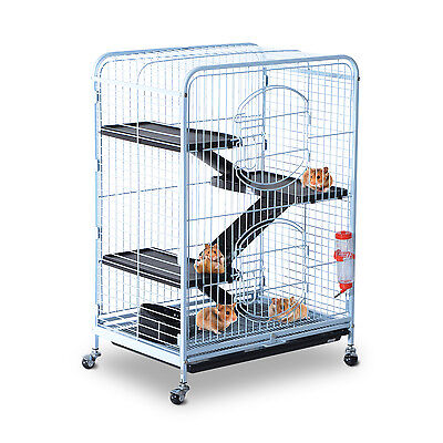 "Deluxe 37"" Pet Cage Hutch Rat Bird Steel Crate Playpen W/ Tray Bowl 360° Wheel"