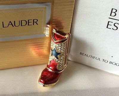 Figural Estee Lauder BEAUTIFUL Solid Perfume Compact Western BOOT in Dbl Box