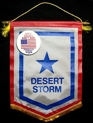 "Operation Desert Storm Service Flag with ""These Colors Don't Run"" Button - USA!"