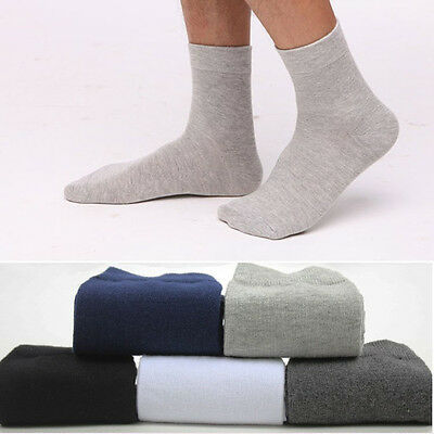 5/10 Pairs Men's Business Casual Style Solid Crew Quarter Dress Cotton Socks