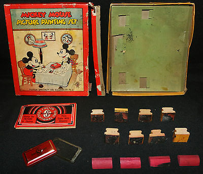 Mickey Mouse Picture Printing Set Walt Disney (Box: GD/ Accessories: NM) Vintage