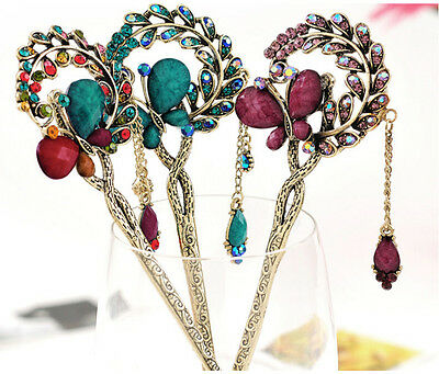 Fashion Colorful Women Crystal Phoenix Butterfly Flower Hairpins Hair Stick Clip