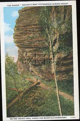 Indiana ~ THE SHADES ~ Indian Trail Under Mansfield Sandstone Postcard 5092