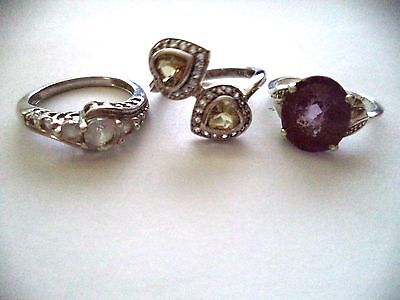 Lot of three rings sterling silver size 7 yellow stone *pretty vintage rings*