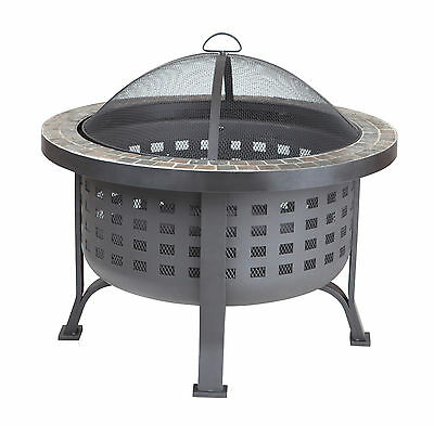 Alpina Round Slate Top Fire Pit Beautifully Unique Robust Steel Mesh Slate Top