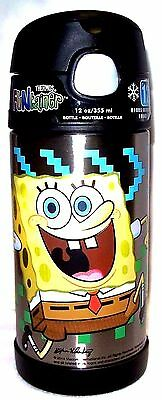 NWT 12oz Spongebob Thermos FUNtainer Insulated Stainless Steel Straw-Bottle
