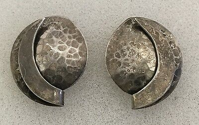 VTG Signed Scara Hammered Sterling Silver Modernist Sun And Moon Post Earrings