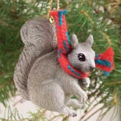 SQUIRREL Gray with Scarf  ~ Miniature Ornament Christmas / Winter Decoration ��